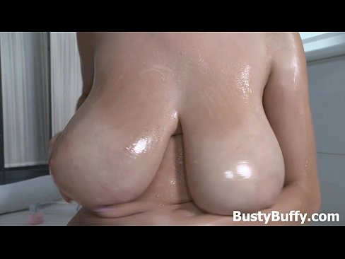 7 min Busty Buffy gives her big puppies an oil massage Mature