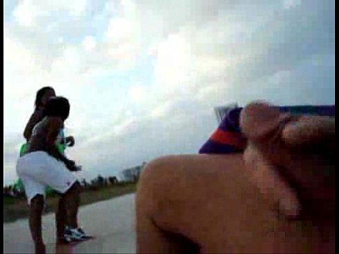 Ebony masturbating in public
