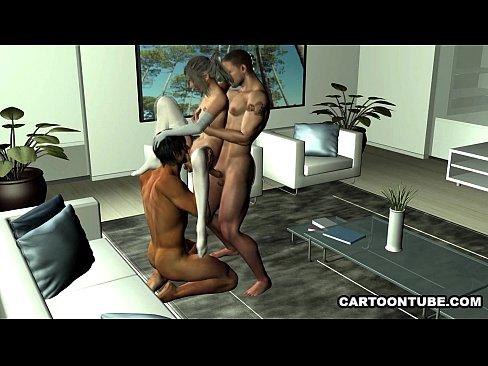 Desenho Pornô Em 3D Com Uma Foda A Três