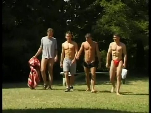 Amazing outdoor orgy as group of shameless boys fuck by the pool