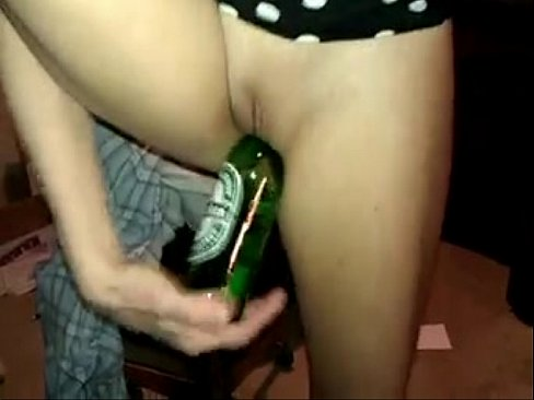 nude girl with beer bottle