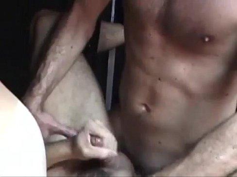 Threesome bareback fucking in sex swing