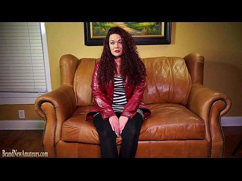 Teen redhead on casting couch masturbates and fucks