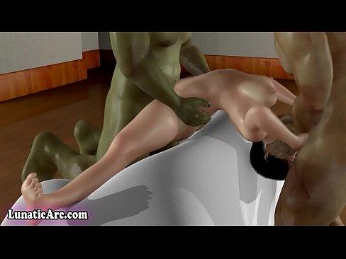 【エロアニメ】巨乳パイパン美少女を挿入&イラマチオで責める3Pセックス!顔射&中出しでザーメンまみれに!