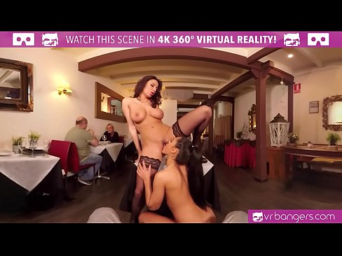 VR PORN - Public Sex with Two Babes in Caffe