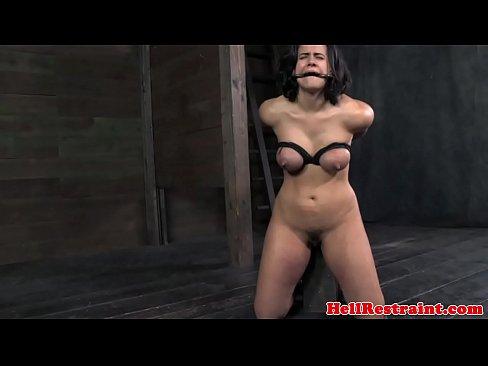Busty nipple clamped fetish sub tit spanked