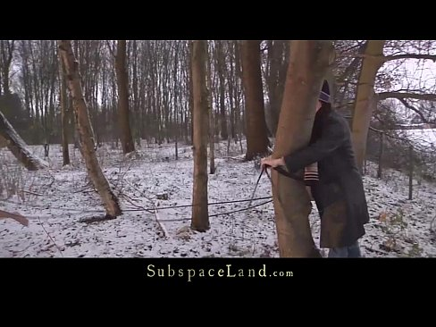 Bondage painful ass punishment in the snow for big boobs slave