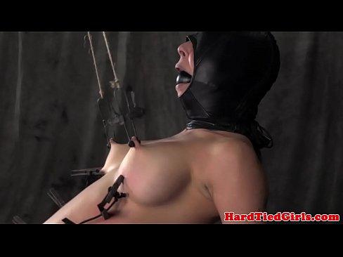 Mask hooded nipple tortured sub punished