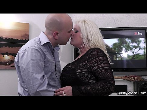 Chubby blonde is doggy-fucked on the floor