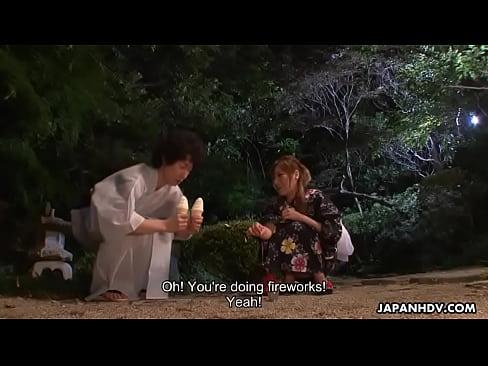 Kimono wearing beauty sucking of a huge samurai sword