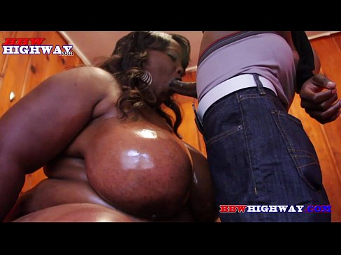 Black bbw masive boobs sucking a fat dick