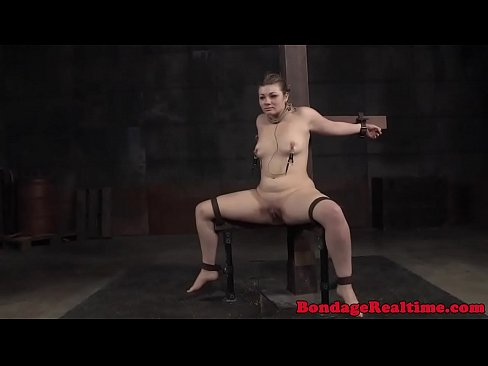 BDSM sub spreadeagle during pussy whipping