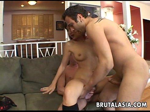 Seductive Japanese hottie fucks with four horny dudes