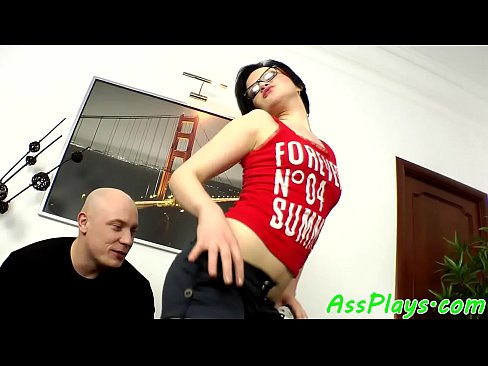 Spex babe assfucked in cowgirl position