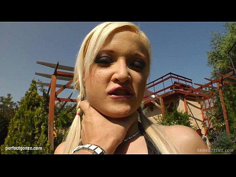 Teenie face Kyra having gonzo style rough sex on Tamed Teens