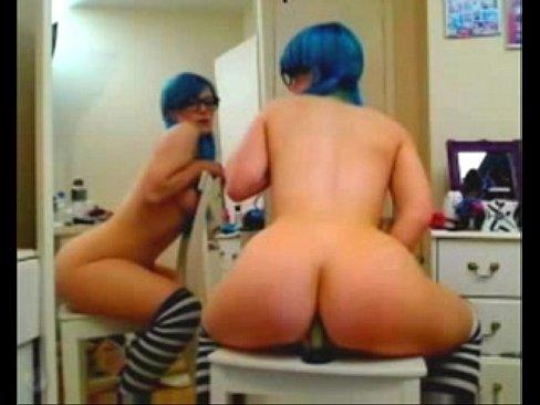 cute emo girl masturbating with dildo