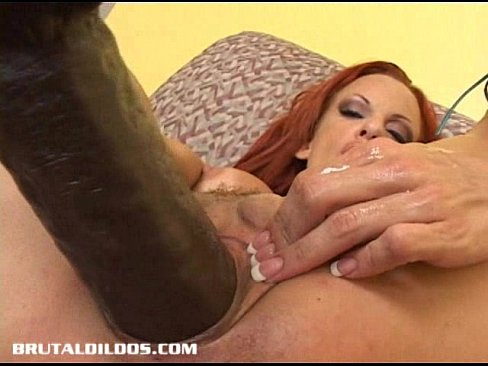 Tanned european babe fills her wet pussy with a thick dildo 9