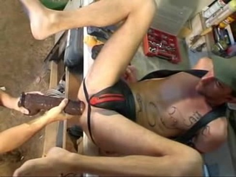 Huge dildo anal play