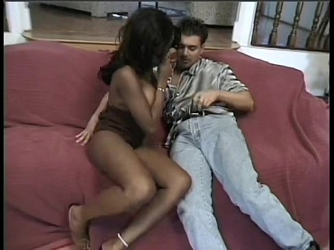 Black chick takes white dick in her ass