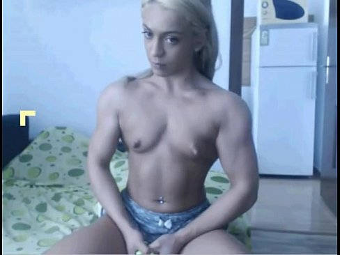 Muscular Women Flexing Biceps