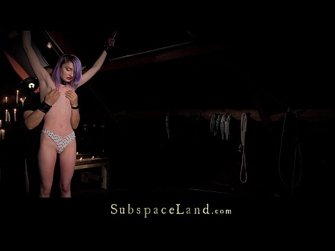 Purple hair slave rough spanked and dominated in hardcore fetish