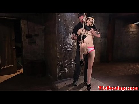 Spreadeagle bdsm sub restrained for fingering