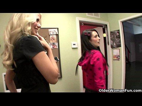 Blonde milf Jazy Berlin stars in lesbian porn movie