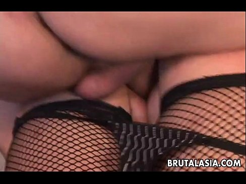 Asian slut in an anal threesome