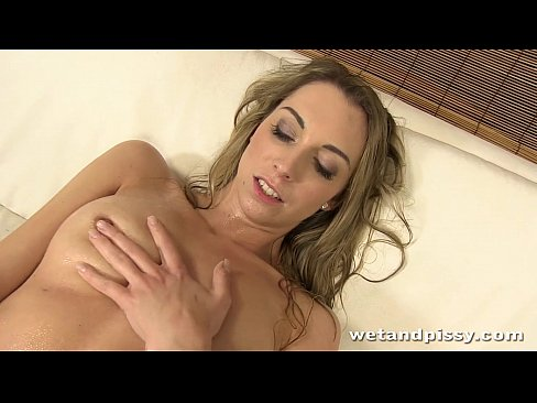 Blonde girl enjoys her first time pissing on camera