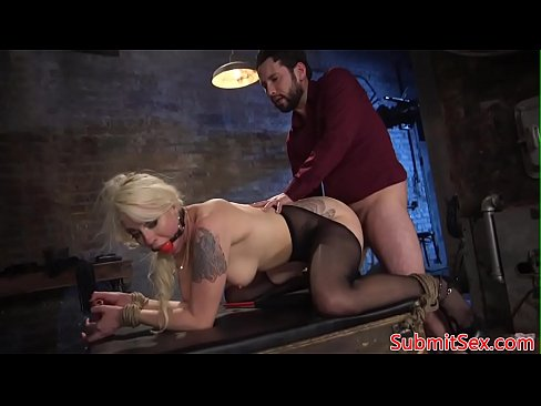 Inked blonde sub restrained for pussy fucking