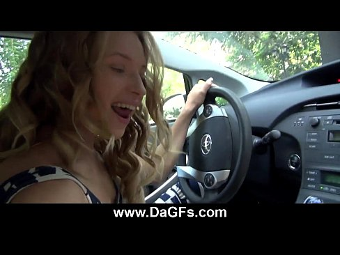 amazing handjob while driving leads to public fucking