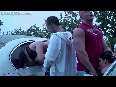 Public orgy with 2 horny girls fucked by strangers in the cars dogging gang bang