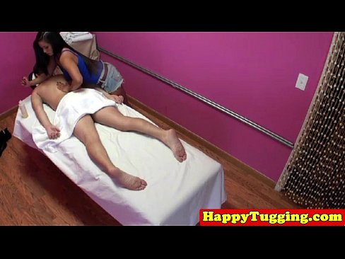 Asian masseuse tugs and pulls