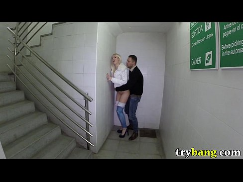 Skinny Blonde Lynna Nilsson Fucked in a Public Stairwell at Night pb14043 HD video