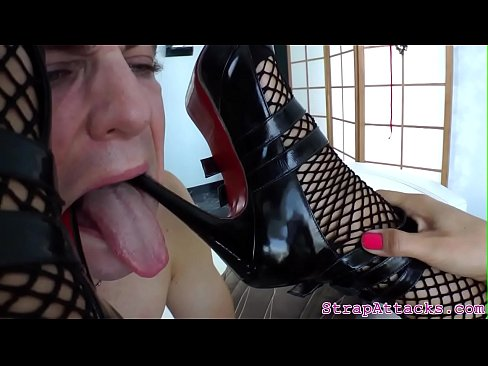 Busty domina pisses over her sub slave