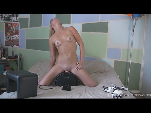 Captivating blonde tries out the pussy rubbing machine