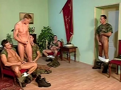 Lewd muscled military studs awesome group ass pounding session