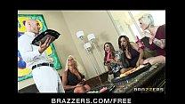 Big-boobed brunette MILFs share a big-dick in h...