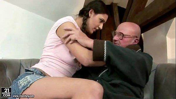 school girl sucks grandpa
