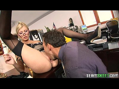 Teamskeet sexy blonde donna bell office deepthroat anal sex