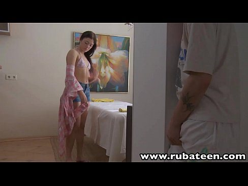 RubATeen Smalltits European teen Seren massage room fucked