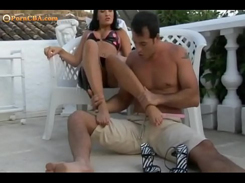 Foot fetish on a terrace