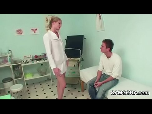 Female Milf Doctor fucks young German Patient in Examination